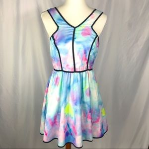 Tea n Cup Water Color Fit and Flare Dress, V Neck